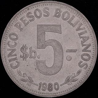 Боливия. 5 песо 1980 г. Сталь с никелевым покрытием
