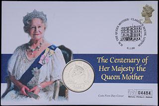 Великобритания. 5 фунтов 2000 г. «100 лет со дня рождения Королевы - Матери». Медно-никелевый сплав. В оригинальной упаковке