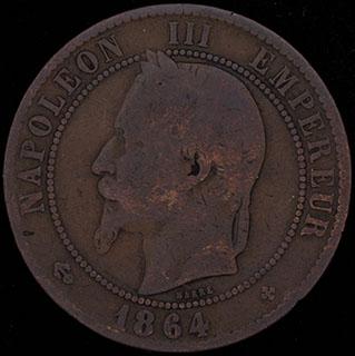 Франция. 10 сантимов 1864 г. BB. Медь