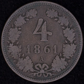 Австрия. 4 крейцера 1861 г. Медь