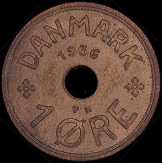 Дания. 1 эре 1936 г. Медь