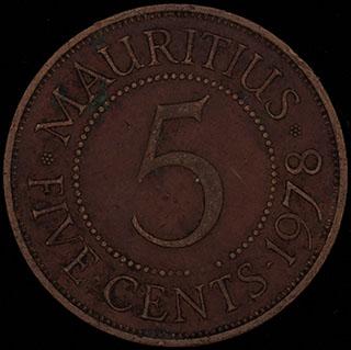Маврикий. 5 центов 1978 г. Медь