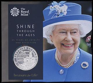 Великобритания. 5 фунтов 2017 г. «65 лет правления Королевы Елизаветы II». Медно-никелевый сплав. В оригинальной упаковке