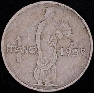 Люксембург. 1 франк 1939 г. Медно-никелевый сплав