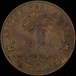 Британская Западная Африка. 2 шиллинга 1936 г. Н. Сплав олова с латунью