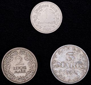 Германия. Лот из монет 1922-1935 гг. 3 шт.