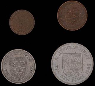 Джерси. Лот из монет 1968-1980 гг. 4 шт.