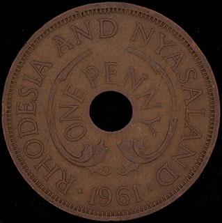 Родезия и Ньясаленд. 1 пенни 1961 г. Медь