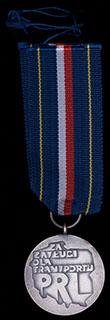 Польша.  Медаль «За заслуги на транспорте». Металл белого цвета. С оригинальной лентой