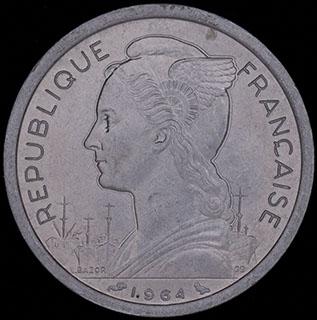 Коморские острова. 2 франка 1964 г. Алюминий