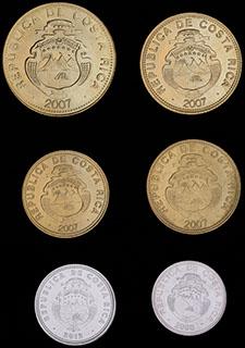 Коста-Рика. Лот из монет 2007-2012 гг. 6 шт.
