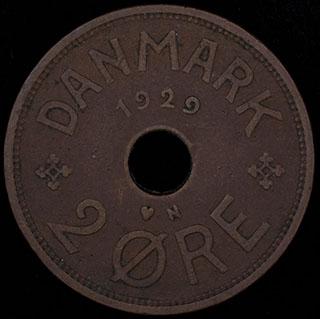 Дания. 2 эре 1929 г. Медь