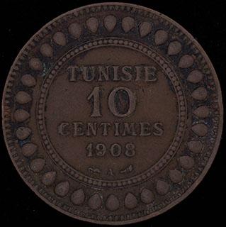 Тунис. 10 сантимов 1326 (1908) г. Медь