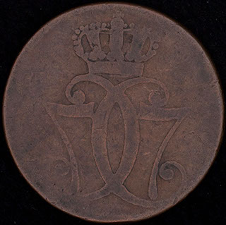 Дания. 1 скиллинг 1771 г. Медь