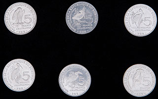 Бурунди. Лот из 5 франков 2014 г. «Птицы». 6 шт.