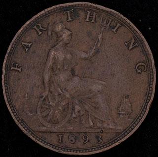 Великобритания. 1 фартинг 1893 г. Медь