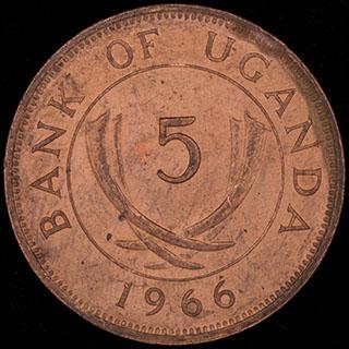 Уганда. 5 центов 1966 г. Медь