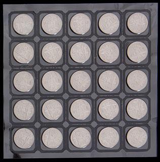 Лот из 25 рублей 2014 г. «Сочи-2014». 25 шт. Полный лист в защитной упаковке монетного двора