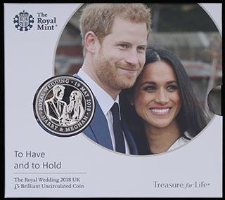 Великобритания. 5 фунтов 2018 г. «Свадьба Принца Гарри и Меган Маркл». Медно-никелевый сплав. В оригинальной упаковке