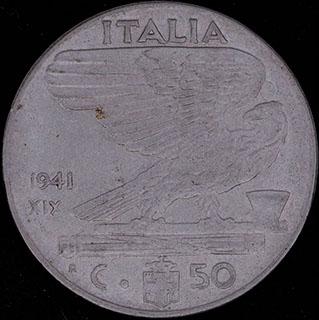 Италия. 50 чентезимо 1941 г. Нержавеющая сталь