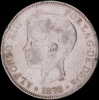 Испания. 5 песет 1898 г. Серебро