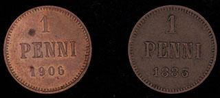Лот из пенни 1885-1906 гг. 2 шт.