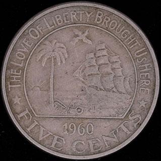 Либерия. 5 центов 1960 г. Медно-никелевый сплав