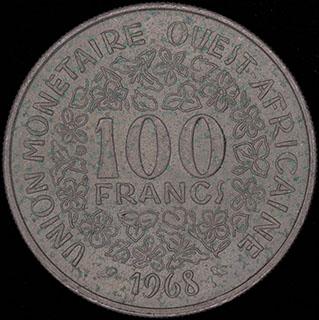 Западная Африка. 100 франков 1968 г. Никель