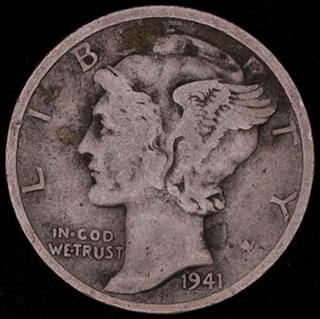 США. 1 дайм 1941 г. S. Серебро