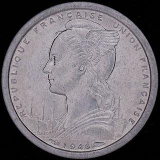 Французская Экваториальная Африка. 1 франк 1948 г. Алюминий