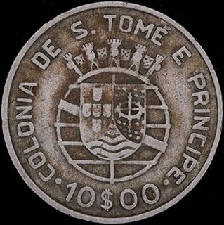 Сан-Томе и Принсипи. 10 эскудо 1939 г. Серебро