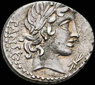 Римская Республика. Монетарий Г. Вибий Панса. Денарий 60 г. до н.э. Crawf. 342/4 b; Syd. 685. Серебро