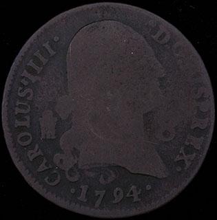 Испания. 8 мараведи 1794 г. Медь
