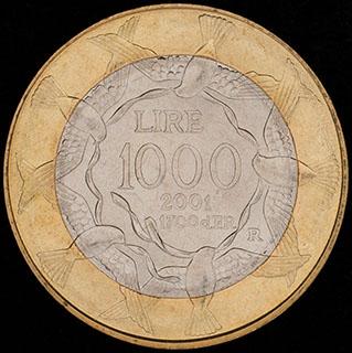 Сан-Марино. 1 000 лир 2001 г. Медно-никелевый сплав, алюминиевая бронза