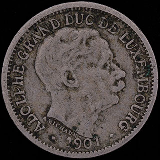Люксембург. 10 сантимов 1901 г. Медно-никелевый сплав