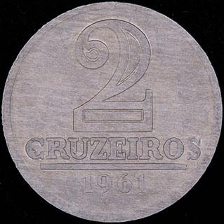 Бразилия. 2 крузейро 1961 г. Алюминий
