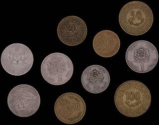 Лот из монет стран Северной Африки 1967-2009 гг. 10 шт.