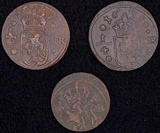 Швеция. Лот из монет 1638-1671 гг. 3 шт.