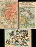 Лот из трех почтовых карточек «Карты военных действий»: