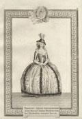 Гравюра «Орденское одеяние Кавалерственной Дамы Ордена Святой Великомученицы Екатерины меньшего Креста»
