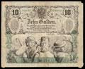 Австро-Венгрия.<i> </i>Национальный банк Австрии. 10 гульденов 1863 г.