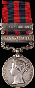 Наградная медаль «Индия» с планками «BURMA 1887-89» и «BURMA 1889-92»