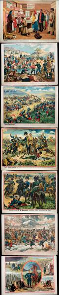 Лот из семи лубочных плакатов из агитационной серии, посвященной Русско-японской войне 1904-1905 гг.