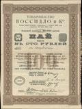 Товарищество «Воссидло и К°». Пай 100 рублей