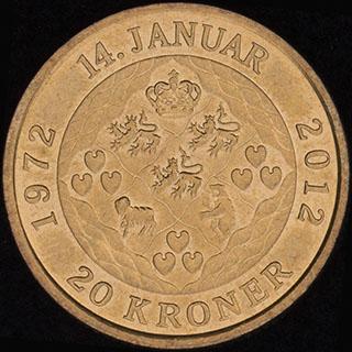 Дания. 20 крон 2012 г. «40 лет со дня коронации Королевы Маргреты II». Алюминиевая бронза