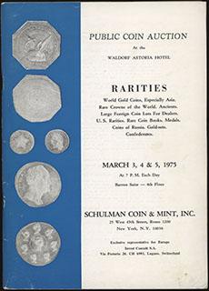 Каталог нумизматического аукциона «Hans M.F. Schulman». Март 1975 г. 116 стр. С приложением результатов аукциона