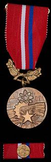 Чехословакия. Лот из медали и планки «За заслуги в развитии Социализма». Бронза. С оригинальной лентой