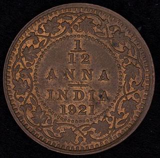 Британская Индия. 1/2 анна 1921 г. Медь