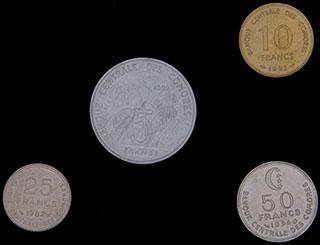 Коморские острова. Лот из монет 1982-1994 гг. 4 шт.