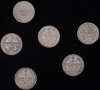 Лот из 5 копеек 1887-18915 гг. 6 шт.